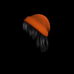 Оранжевая шапка с черными волосами