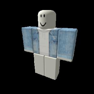 Джинсовая куртка с белым капюшоном