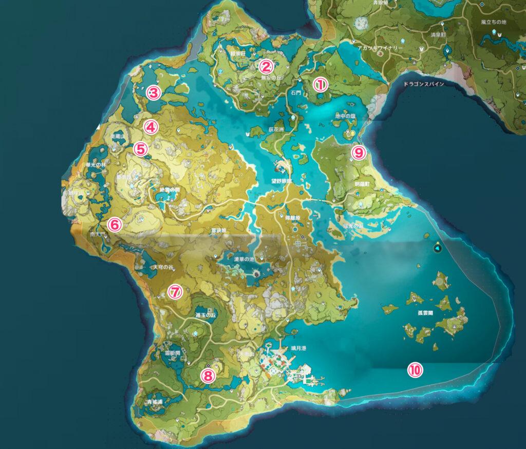 Genshin Impact - карта Усыпальниц глубин