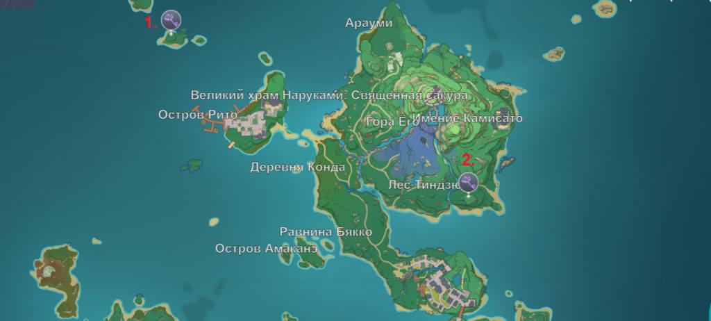 Карта усыпальниц на севере Инадзумы