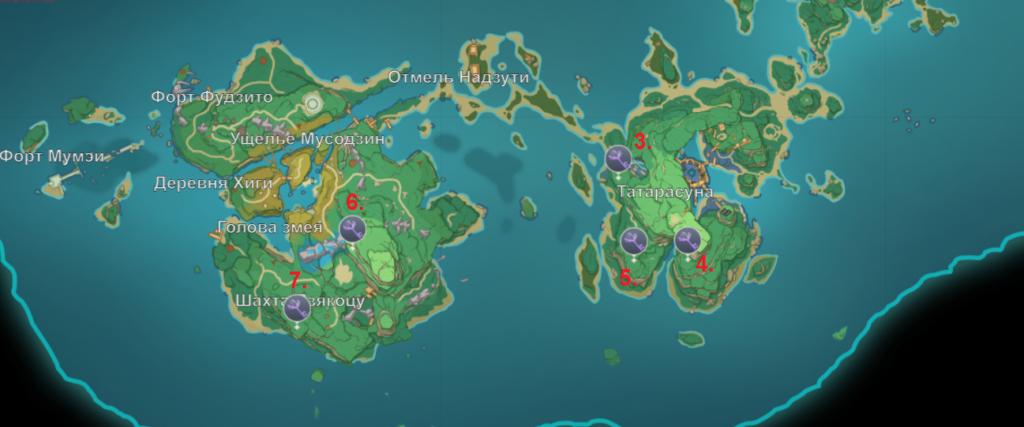 Карта усыпальниц на западе Инадзумы